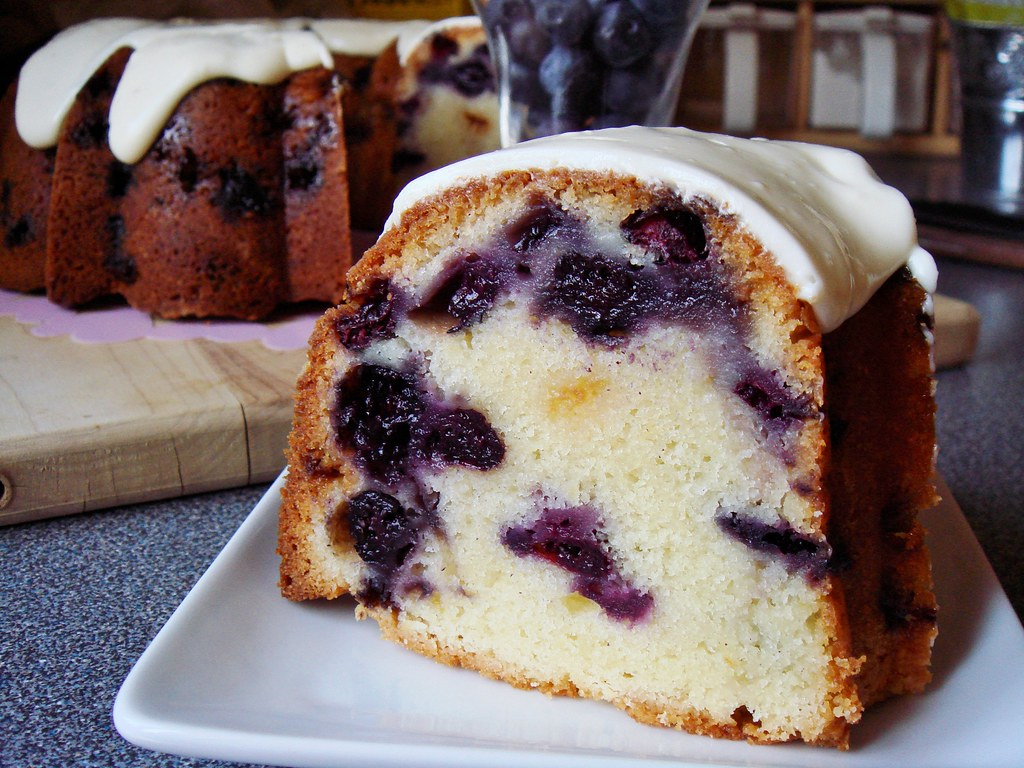 Blueberry White Chocolate Buttermilk Bundt with Cream Chee