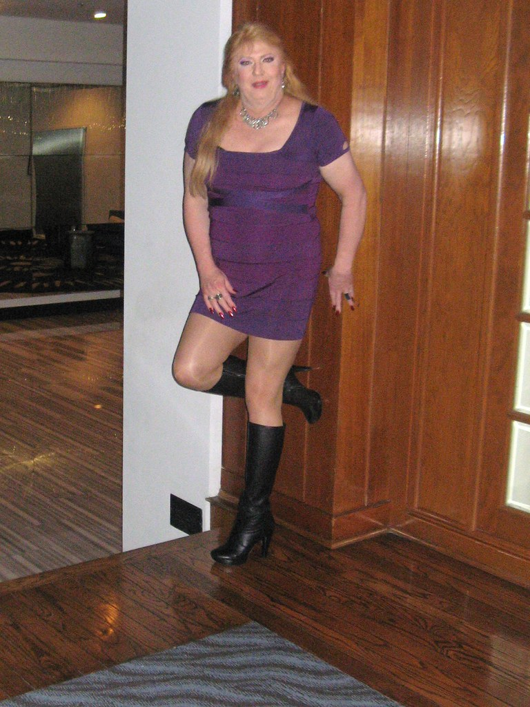 Leather Boots and Mini Dress at the Hilton Houston NASA Cl