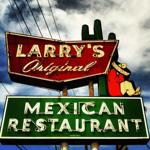 Vintage neon sign for Larrys Mexican Restaurant in Richmo