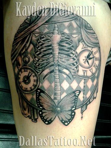 Dallas Tattoo Artist Kayden DiGiovanni gothic skeleton but