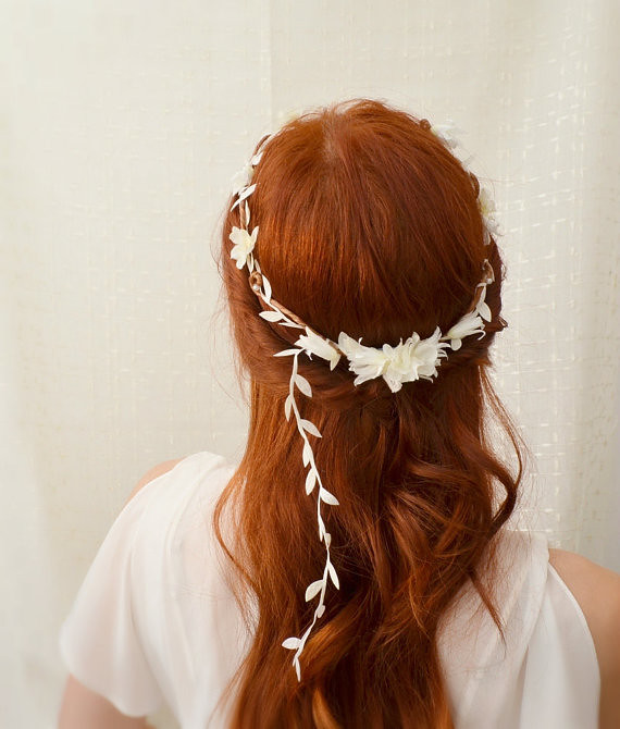 Dove Song Simple White Leaf And Flower Crown Faylyne
