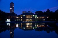 The Patio at Cafe Brauer, Night, South Pond at the Nature ...