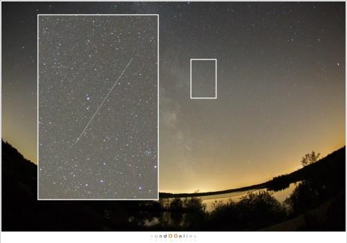 Een satelliet. Op het eerste oog lijkt het een vallende ster. Kijk daarom altijd naar de serie foto's: een satelliet staat op meerder beelden (Enkele foto, 15mm - ISO6400 - f/2,8 - t=15sec)