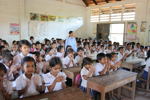 Cambodia Children Clapping in Classroom  A classroom