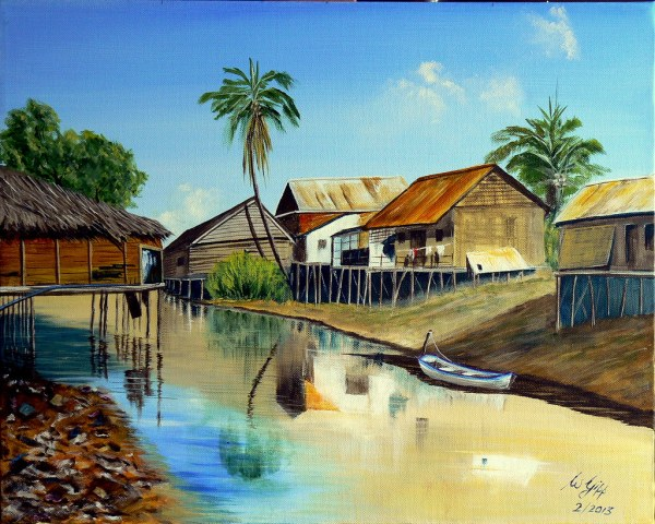 Cambodia - Unknown Township Painting Acrylic Canvas
