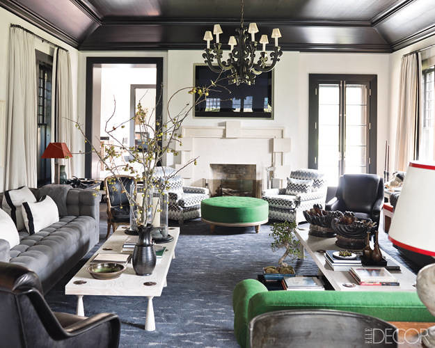 Gray  green living room Hamptons style by Steven Gambrel
