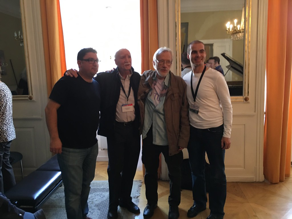 Legends of the bass world celebrate after Szymon Marcianiak's performance of Frank Proto's Sonata No. 3