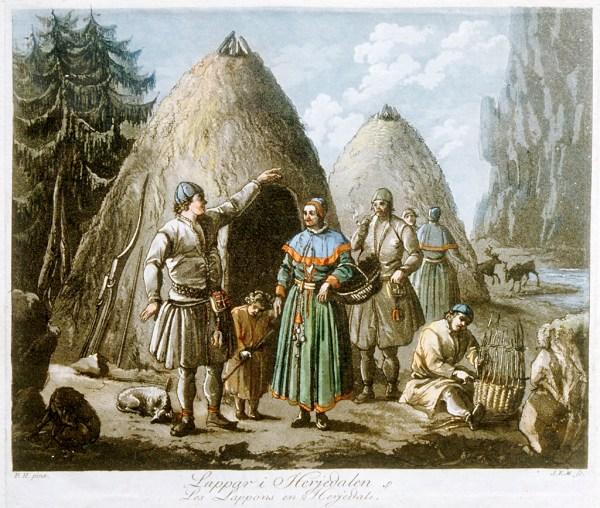 Samisk Gruppe Rjedalen Etsing Etter Maleri 1790-1800
