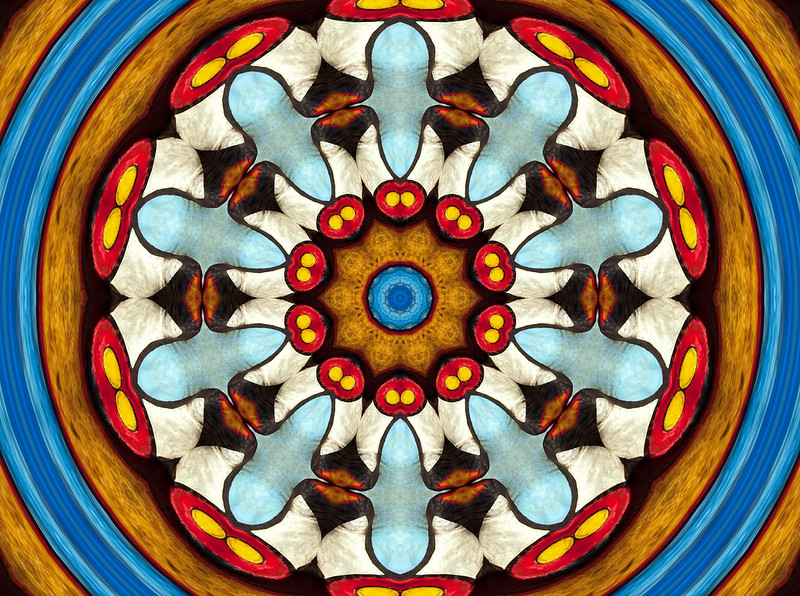 Kaleidoscope image rendered from an image of  Fun House sign, Seattle, Washington