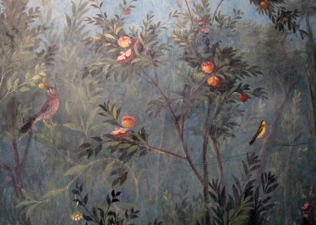 Painted Garden Villa of Livia detail with birds and frui