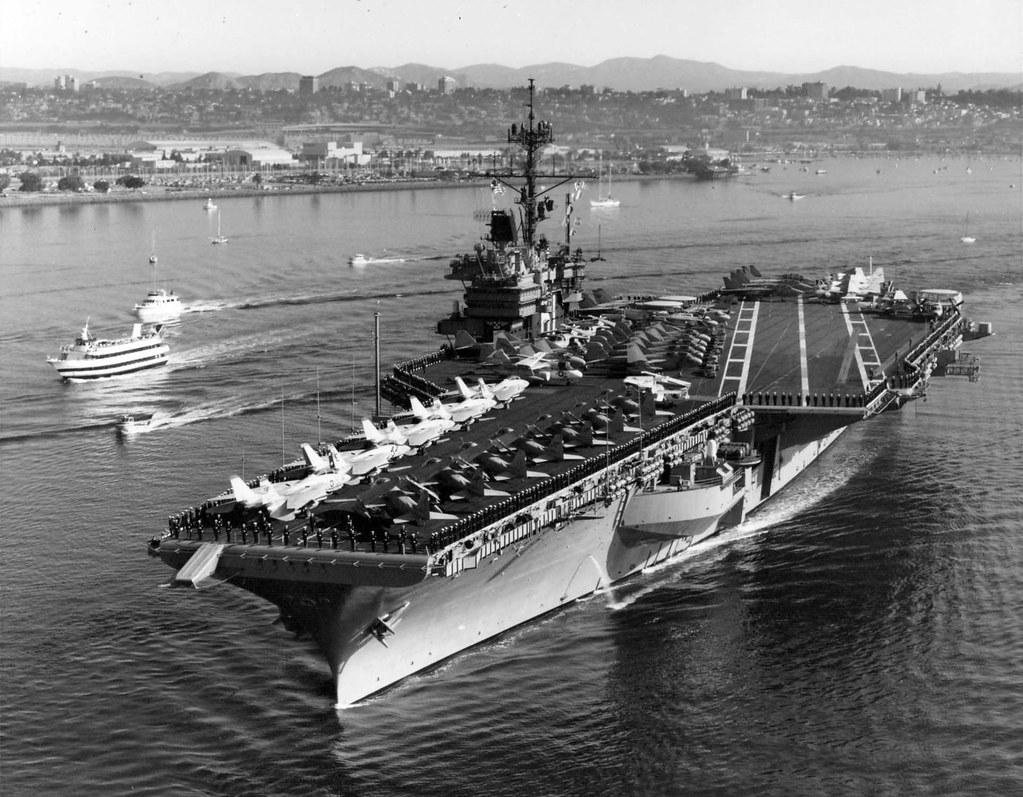 USS Ranger CV 61  Members of the crew man the rails as