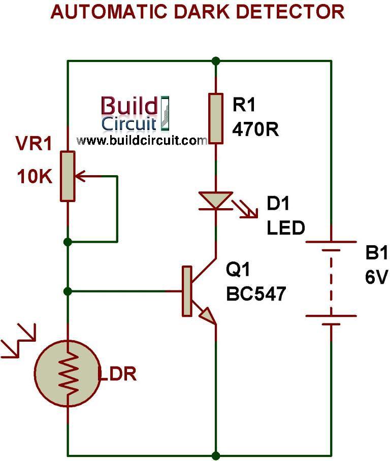 Dark Sensor Circuit Using Ldr
