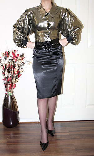 metallic gold puff seeve governess blouse  for sale soon
