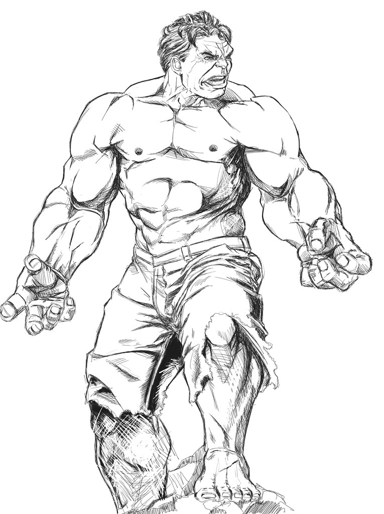 Desenho De Hulk Marvel Para Colorir