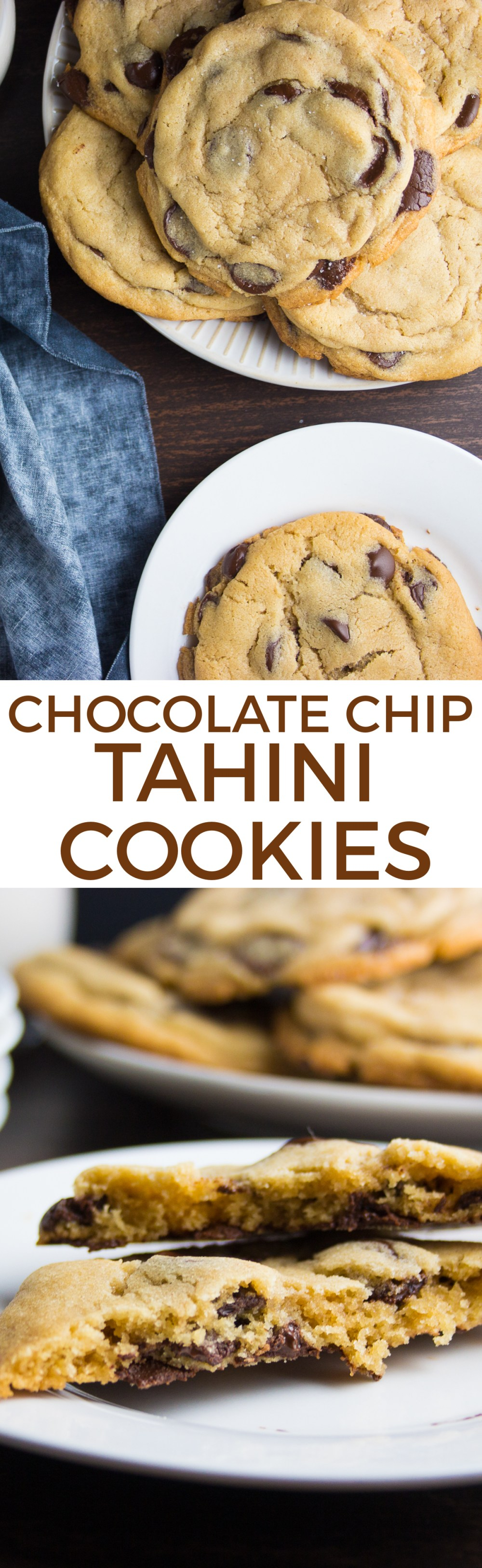 Chocolate Chip Tahini Cookies on www.inthiskitchen.com