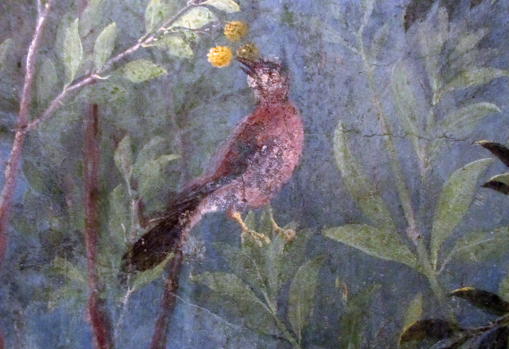 Painted Garden Villa of Livia detail with red bird and y
