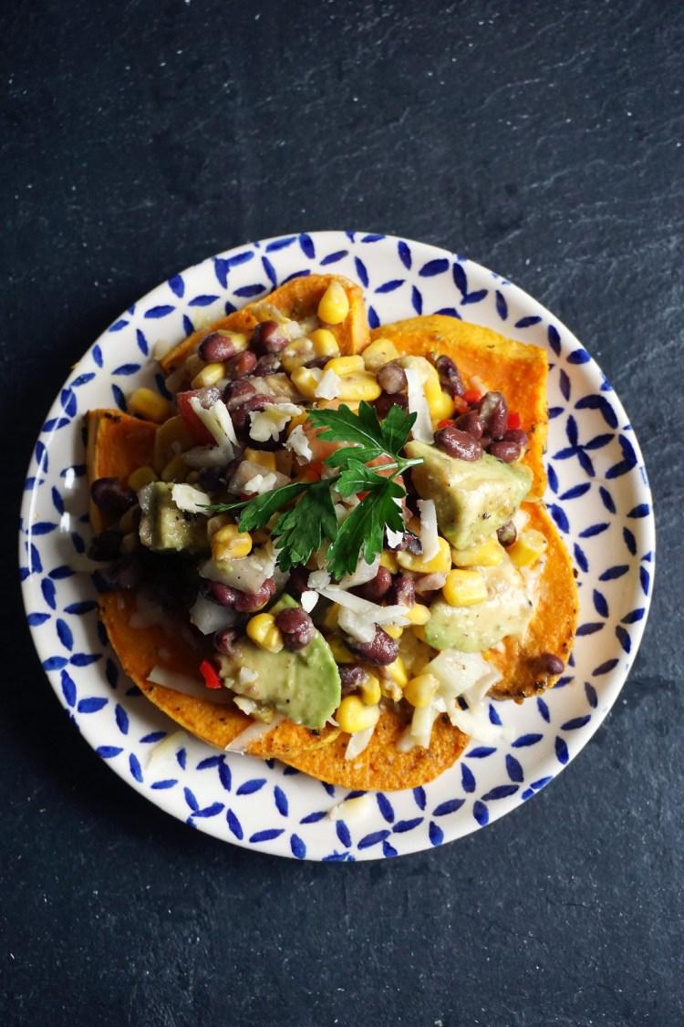Vegetarian and gluten free southwestern style sweet potatoes