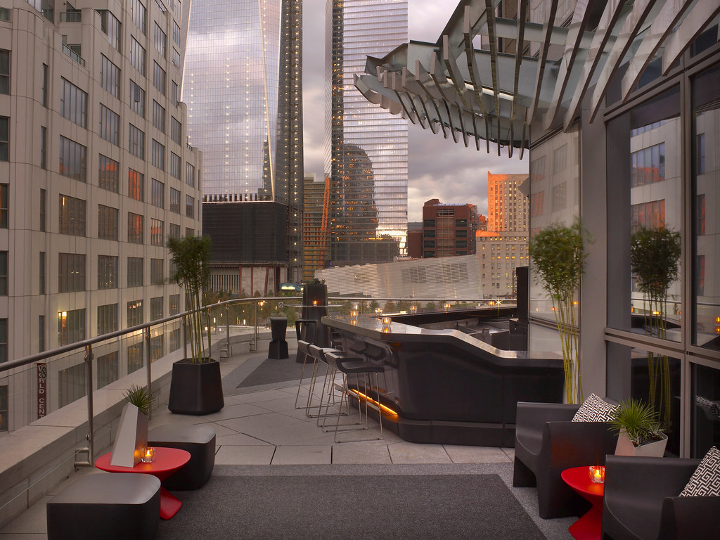 W New York  DowntownLiving Room Bar and Terrace  Living