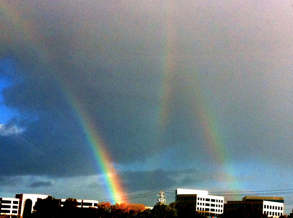 Triple Rainbow  The middle rainbow is a rare phenomenon