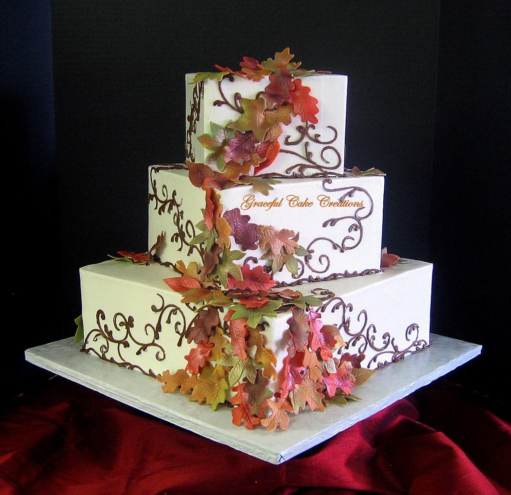 Elegant Square Fall Leaves Wedding Cake  Grace Tari  Flickr