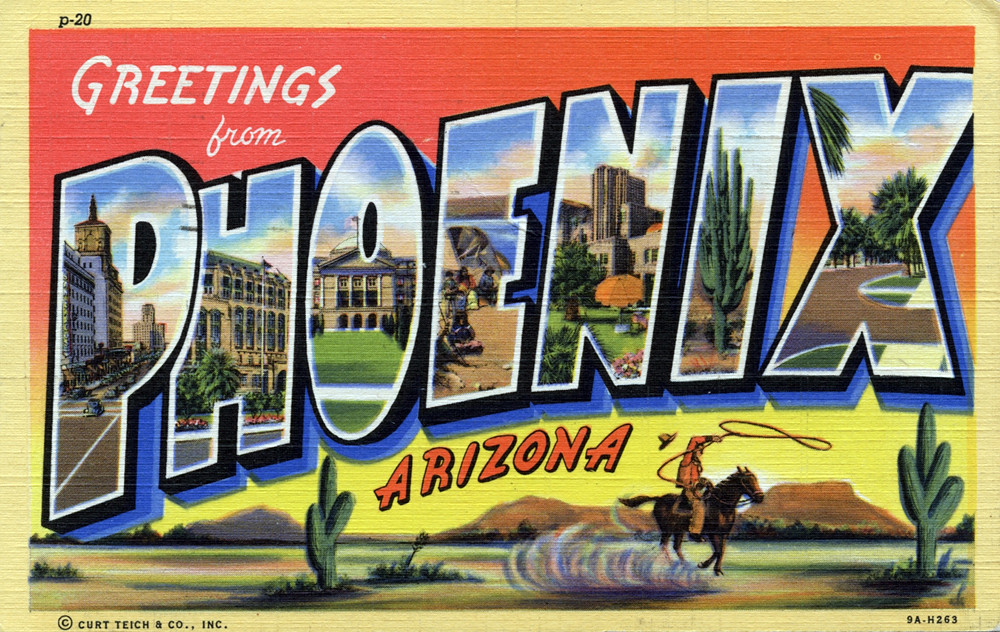 Greetings From Phoenix Arizona Large Letter Postcard