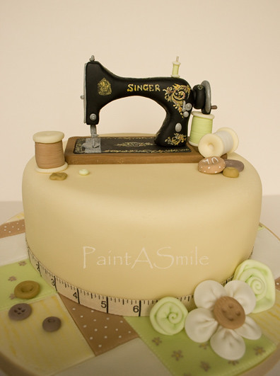 Singer Sewing Machine cake  70th Birthday cake for a