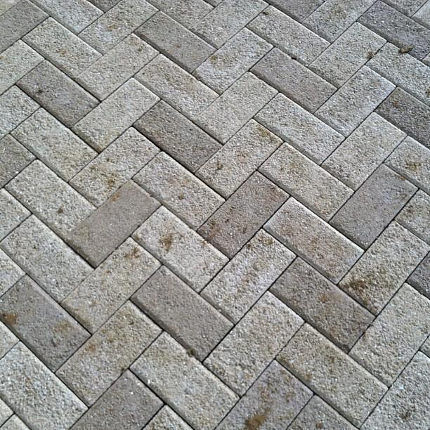 90 degree herringbone pattern Hanover Prest brick patio in