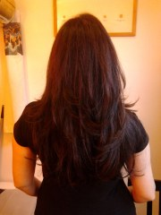 long layered haircut withauburn hightlights