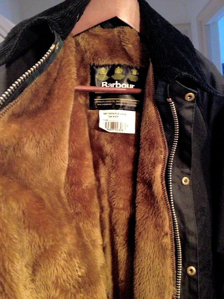 Barbour Bedale wax jacket with faux fur liner clicked in