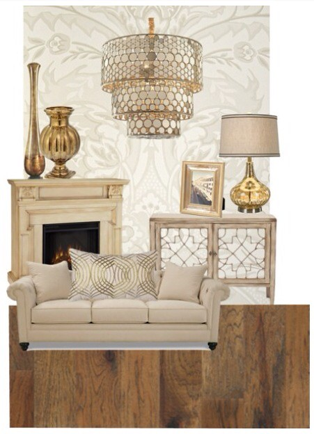living room color schemes brown leather furniture modern chairs for gold & cream   mood board made on polyvore ...