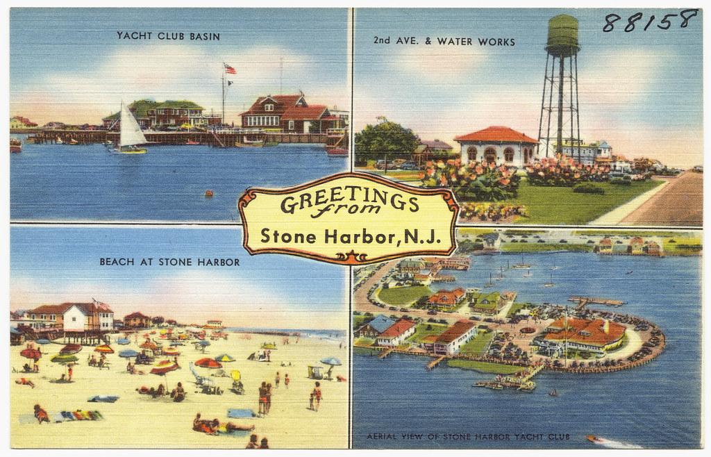 Greetings from Stone Harbor. N. J. -- yacht club basin. 2n… | Flickr