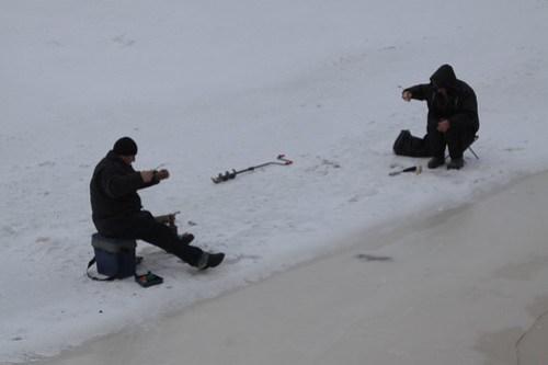 Ice fishing on the River Neva in Saint Petersburg