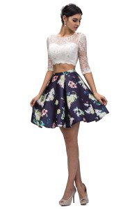 2016 Short Cocktail Prom Dress Floral Print Sleeves Two ...