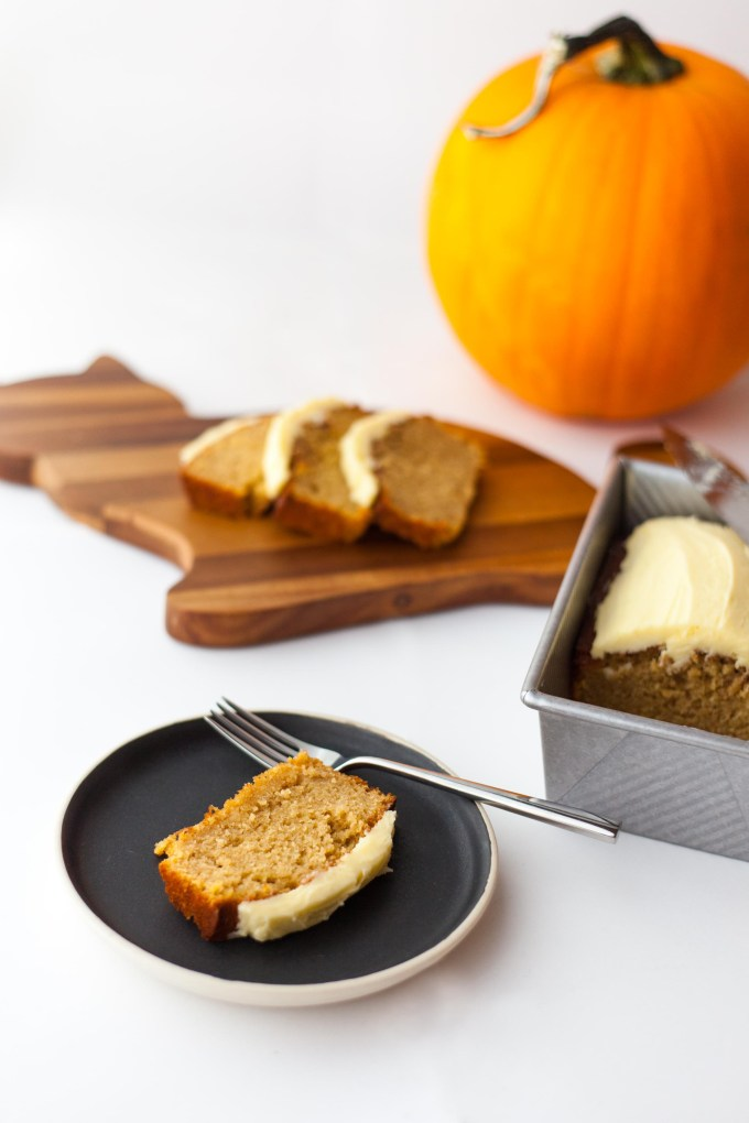 Crafts and a Cat   Pumpkin Olive Oil Loaf with Rosemary Buttercream by Kayleigh Kosmas
