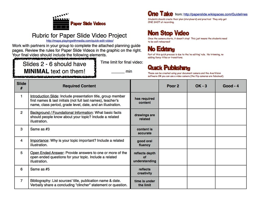 Paper Slide Video Rubric And Planning Guide 1 Of 3 Flickr