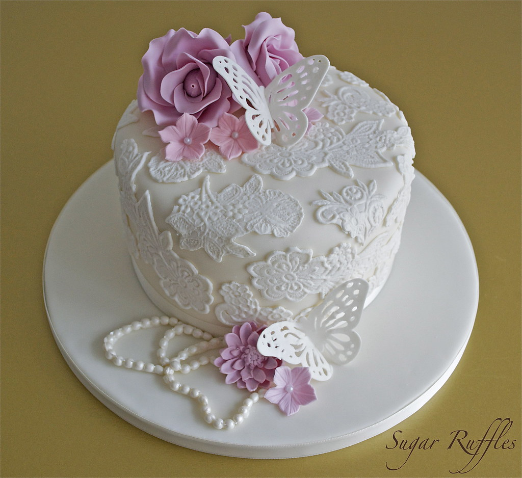 Vintage Lace Cake  Vintage style birthday cake with lace