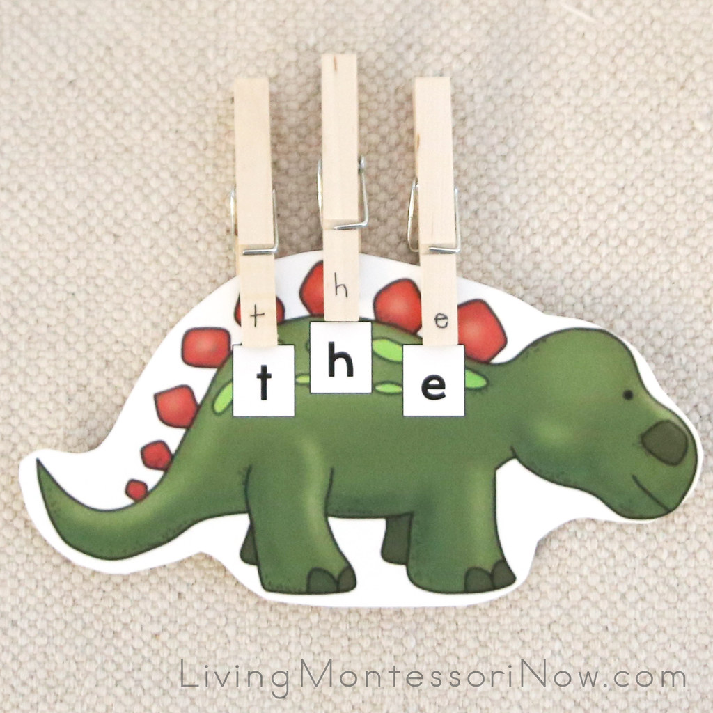 Dinosaur Sight Words Puzzle Words With Letter Clothespin