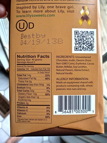Lilys Dark Chocolate package Back Stevia Low Carb  Flickr