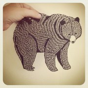 grizzly paper cutting created