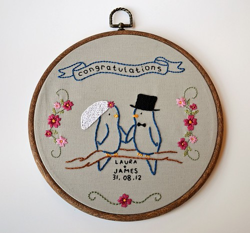 Wedding Bird Embroidery  This embroidery was created as a