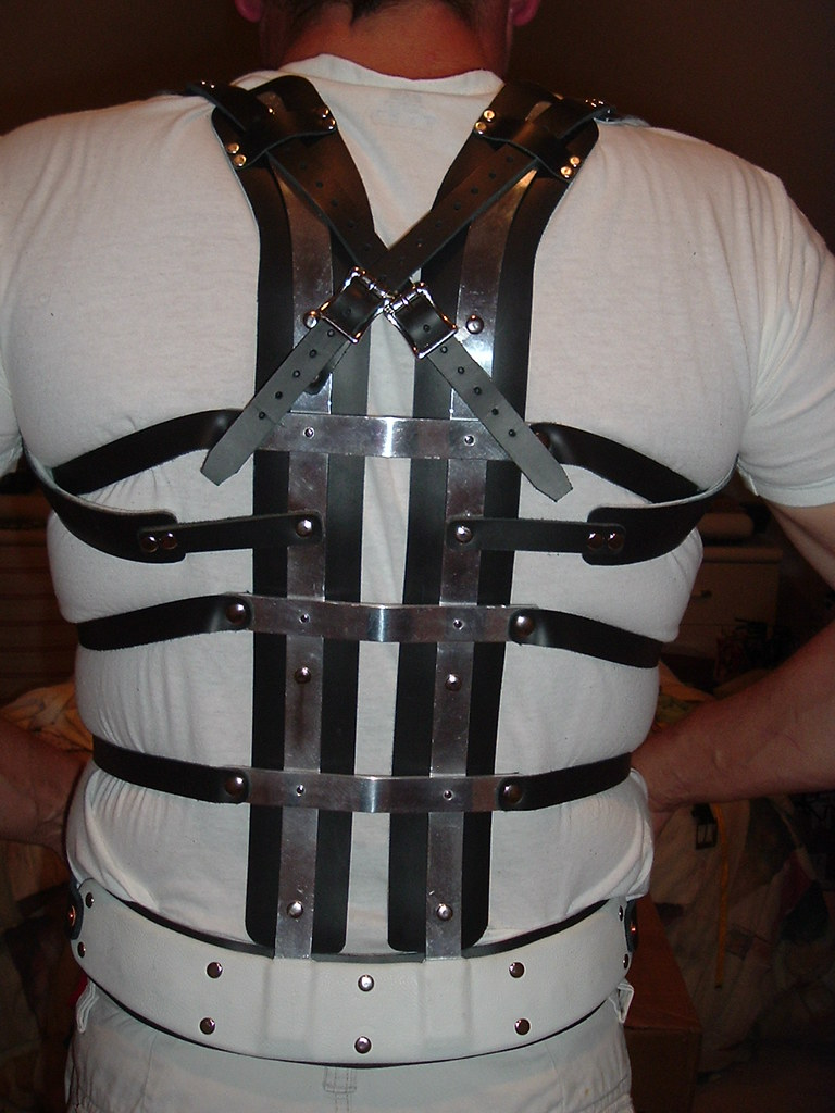 Back View of Black Leather and Metal Back Brace  Made to