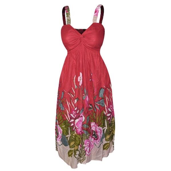 Red Floral Cotton Sundress Women Info Visit