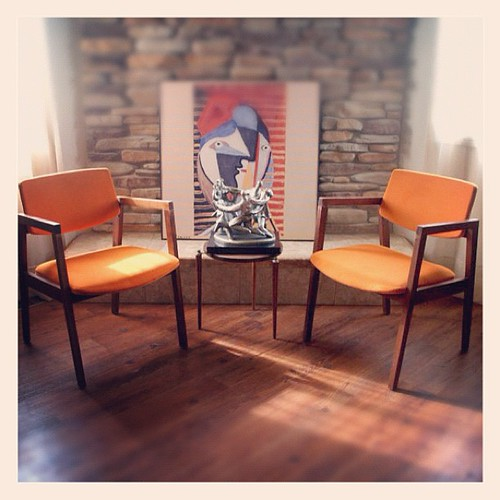 MID CENTURY MODERN Chairs Burnt Orange Danish Modern Style
