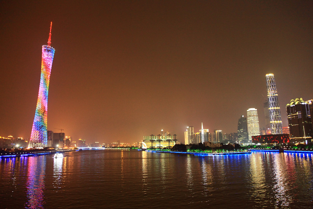Guangzhou skyline at night  Thats the view from Liede
