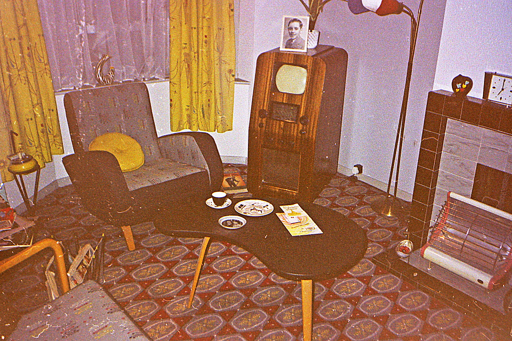 1950s living room  Note the tiny cathode ray TV screen and  Flickr