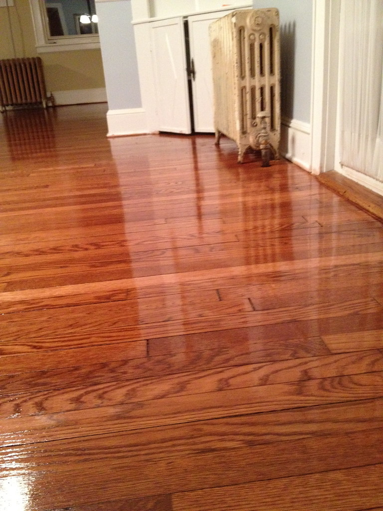 Minwax Red Mahogany  oak floor refinish one coat of