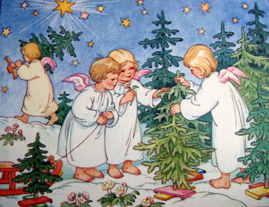 Kerst Engelen Christmas Angels 4 Foto Van Een Prent