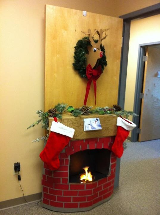 Christmas Door Decorating Contest, cardboard fireplace and