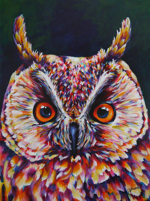 Great Horned Owl Acrylic Painting  Flickr  Photo Sharing