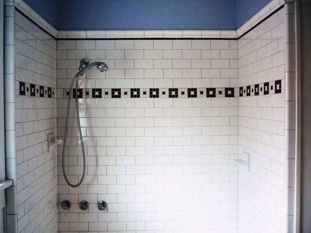 w gray apt 4 subway tile shower with mosaic inlay jared me